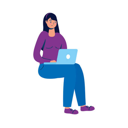 young woman using laptop seated character vector illustration design