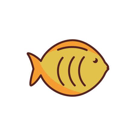 sea animal line color style icon vector illustration design
