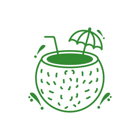 coconut fresh cocktail isolated icon vector illustration design