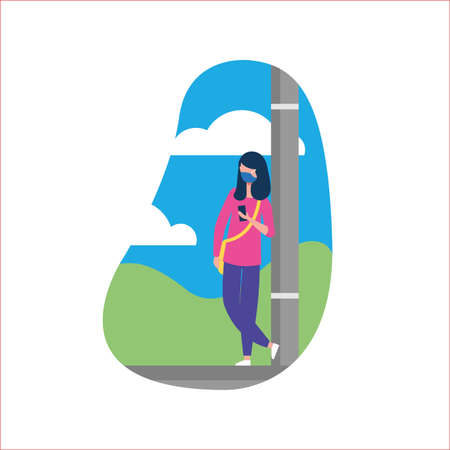 woman with mask at lamppost design of medical care and covid 19 virus theme Vector illustration Illustration