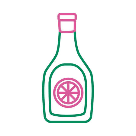 tequila bottle mexican line style icon vector illustration design