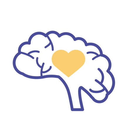 brain with heart mental health line style icon vector illustration design