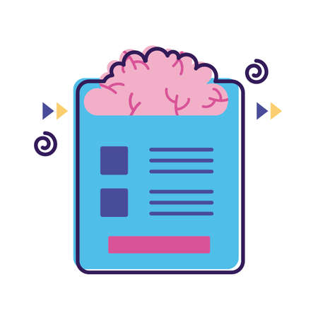 brain with document mental health flat style icon vector illustration design