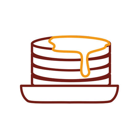 pancakes with maple honey line style icon vector illustration design