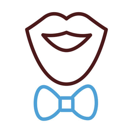 mustache and beard with bowtie line style icon vector illustration