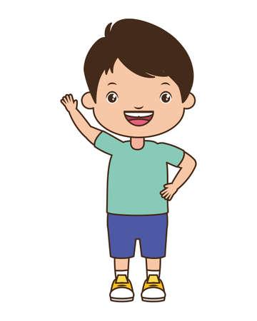 happy boy waving hand on white background vector illustration