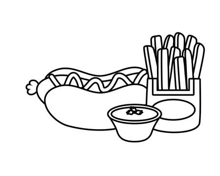 hot dog french fries sauce fast food vector illustration