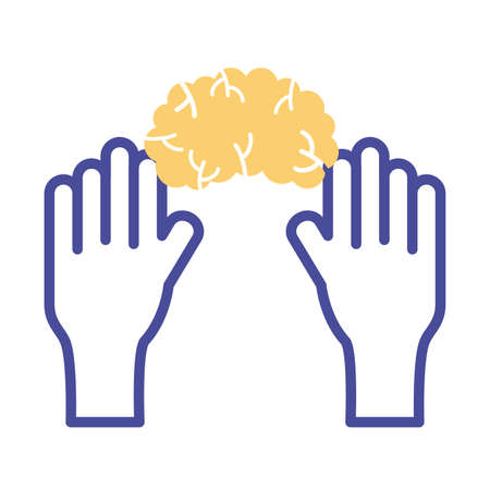 hands with brain mental health line style icon vector illustration design