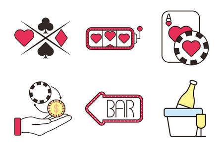 bundle of casino set icons vector illustration design