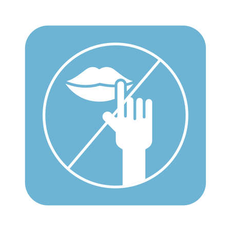 dont touch mouth line style icon vector illustration design