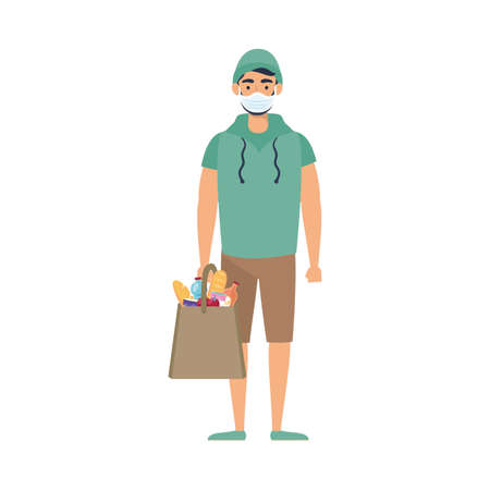 young man using medical mask with supermarket bag vector illustration design
