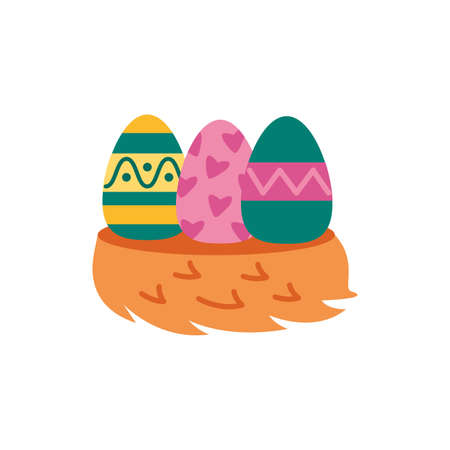 easter eggs painted flat style icons vector illustration design Illusztráció