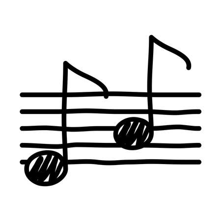 music note in musical partiture line style icon vector illustration design Illustration