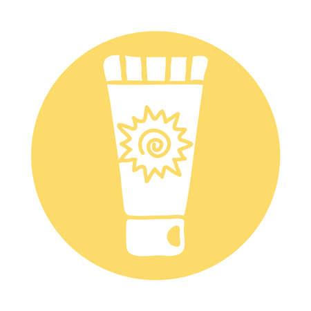 sun blocker cream product block style icon vector illustration design