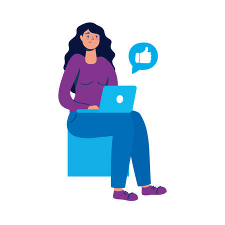 young woman using laptop seated in chair vector illustration design