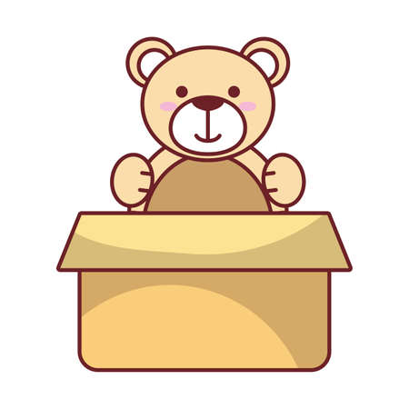 Teddy bear inside box design of Childhood play fun kid game gift object little and present theme Vector illustration