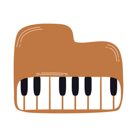 piano musical instrument line and fill style icon vector illustration design