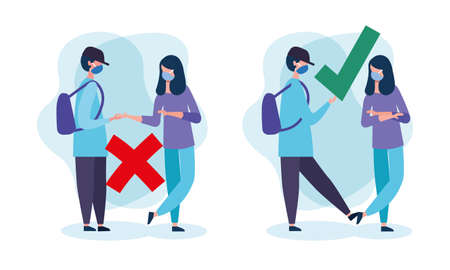 Social distancing between boy and girl with masks design of Covid 19 virus theme Vector illustration