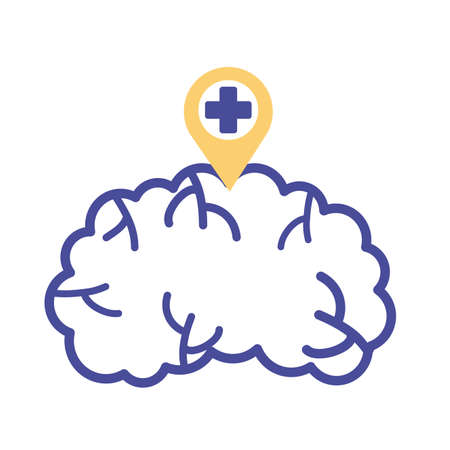 brain with pin and cross mental health line style vector illustration design