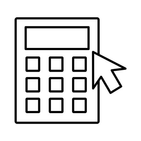 calculator math with arrow mouse line style vector illustration design