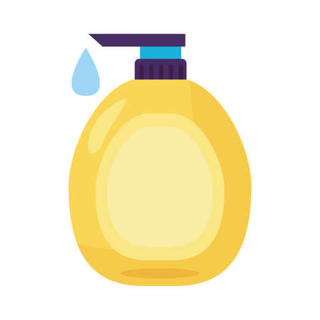 disinfectant plastic bottle product with push dispenser detaild style vector design