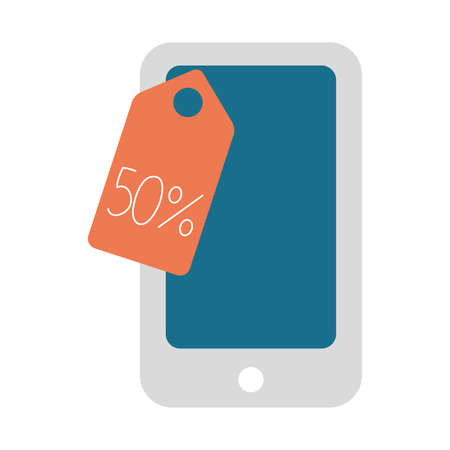 smartphone device with tag hanging vector illustration design Vetores