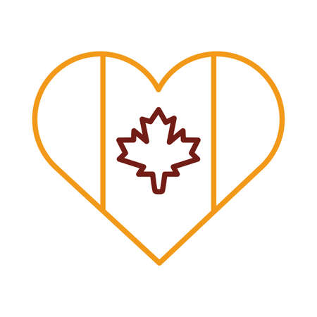 heart with canada flag line style vector illustration design