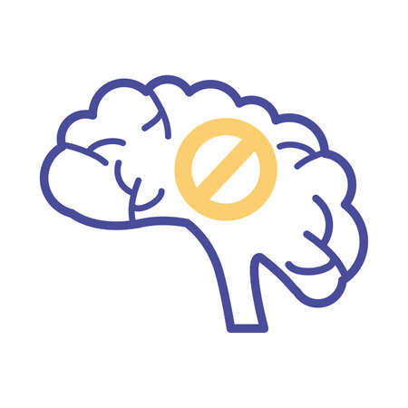 brain with denied symbol mental health line style vector illustration design