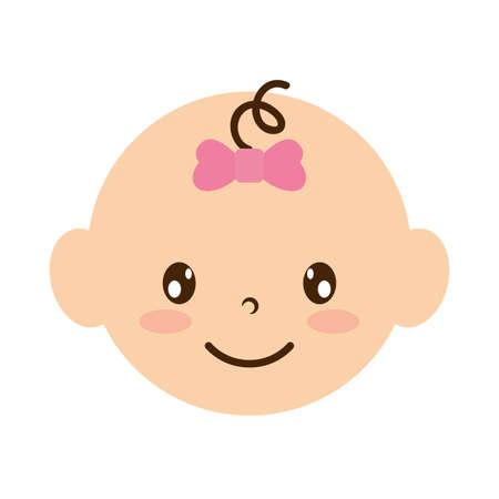 cute little baby girl head character vector illustration design