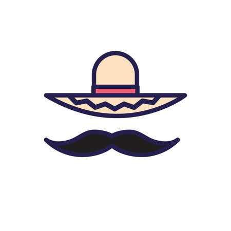 mexican culture hat and mustache fill style icon vector illustration design