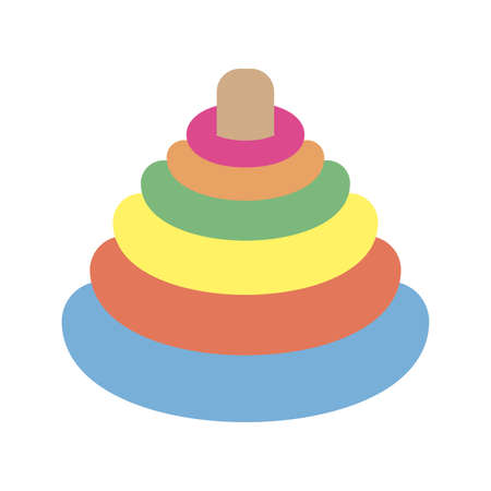 rings colors pyramid toy icon vector illustration design