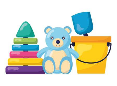 baby toys bear pyramid and bucket design vector illustration