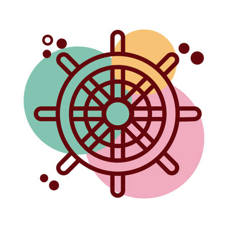 helm of ship line and color style icon vector illustration design