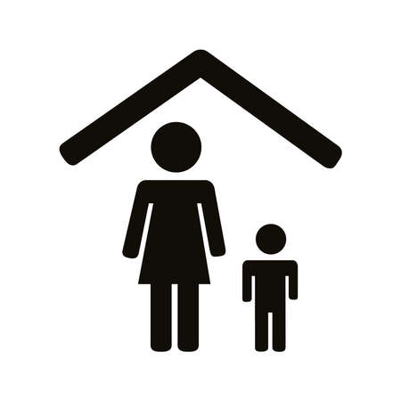 mother and son stay at home silhouette style icon vector illustration design