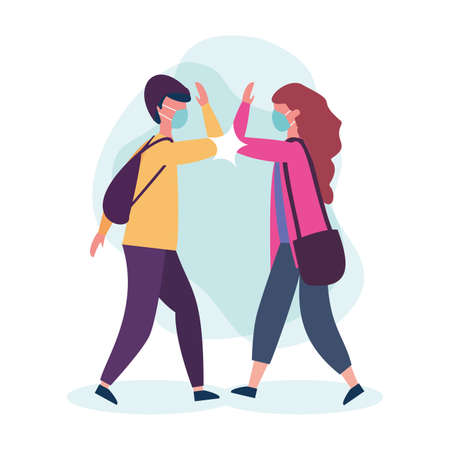 school boy and girl with mask and elbow salute design of medical care and covid 19 virus theme Vector illustration Vector Illustration