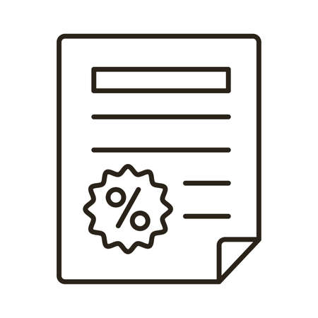 document with percent seal line style icon vector illustration design