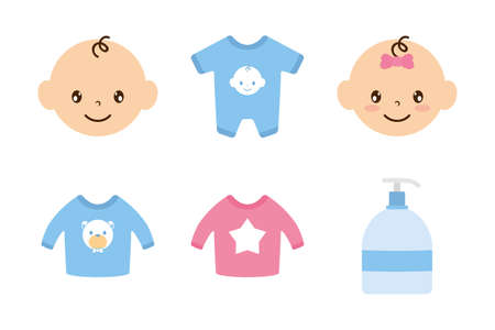 bundle of baby set icons vector illustration design