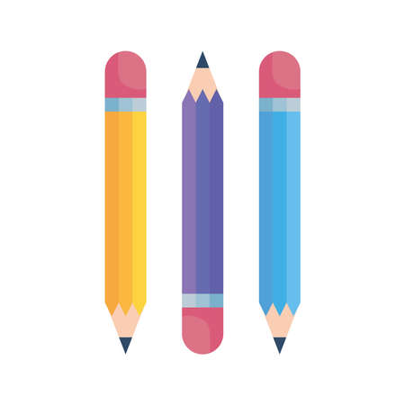 Pencils design, Tool write office object instrument equipment draw art and learn theme Vector illustration