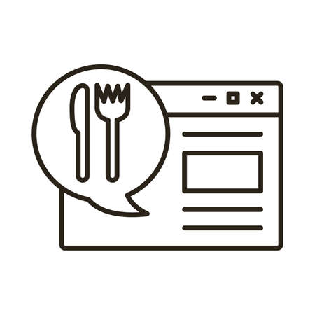 template webpage with speech bubble and cutlery delivery service line style vector illustration design