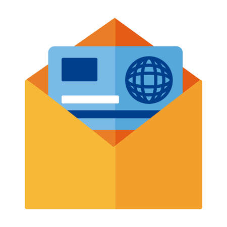 credit card in envelope payment online flat style vector illustration design