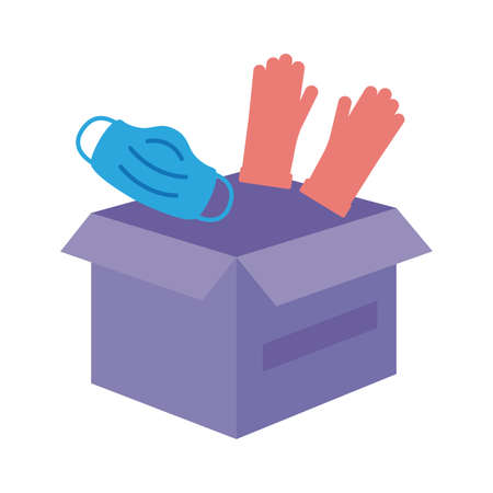 donations urn with gloves and face mask solidarity flat style vector illustration design Vectores