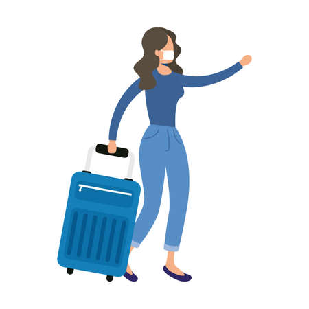 young woman wearing medical mask with suitcase character vector illustration design