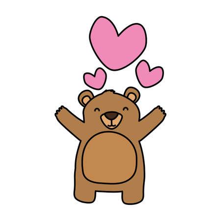 cute bear love hearts adorable vector illustration