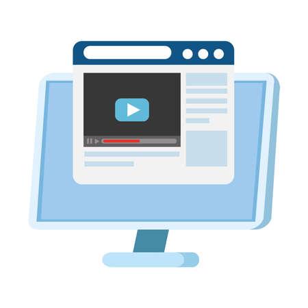 Play on website in front of computer design, Music movie cinema video film and media theme Vector illustration Ilustração