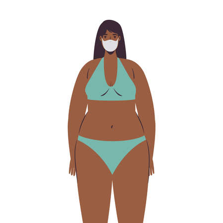 Girl cartoon with bikini and medical mask design, Summer vacation tropical and covid 19 virus theme Vector illustration Illustration