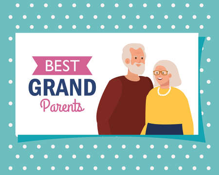 Grandmother and grandfather on best grandparents design, Old woman man female male person mother father and grandparents theme Vector illustration
