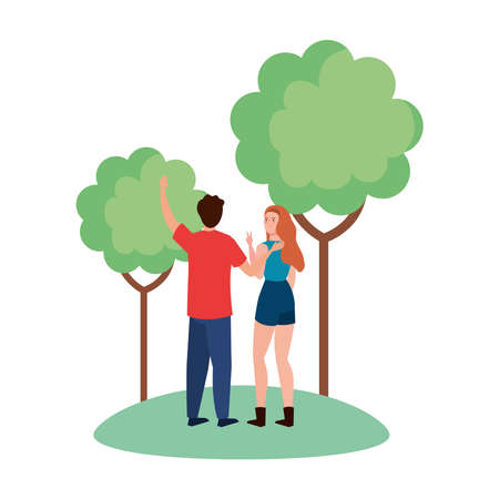 Woman and man avatar backwards at park with trees design, Person people and human theme Vector illustration