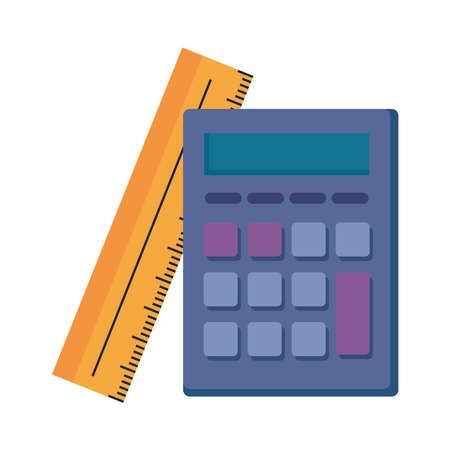 Calculator and ruler design, Mathematics finance device electronic education office object and accounting theme Vector illustration