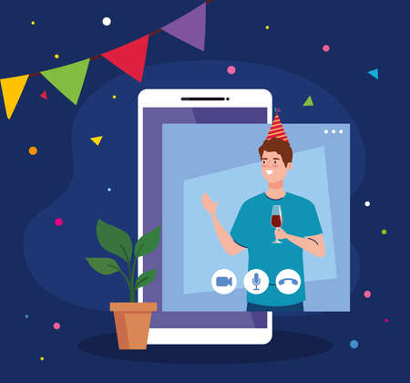 man with party hat and wine cup on smartphone design, Happy birthday and video chat theme Vector illustration
