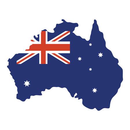 australian country flag in map vector illustration design Çizim